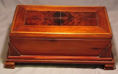 Antique Mahogany Wood Tramp Folk Art Sewing Jewelry Humidor Casket Chest Box