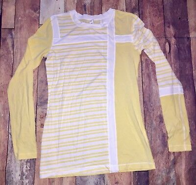 Lululemon Athletica Size 10 Yellow/White Stripe & Solid Color Long Sleeve Top