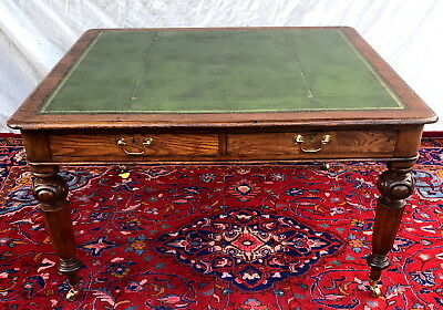 Antique Victorian Oak Gothic Style Partner's Office Desk ~~ Green Leather Top