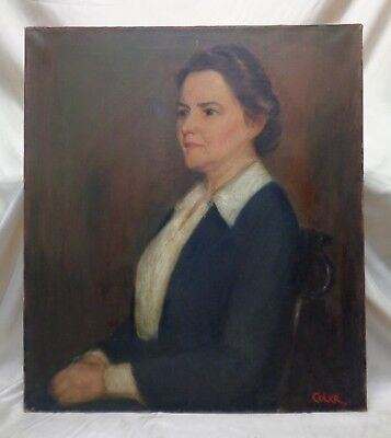 Signed Bertha T Coler Estate Antique Stretched Oil Painting: Portrait of a Woman