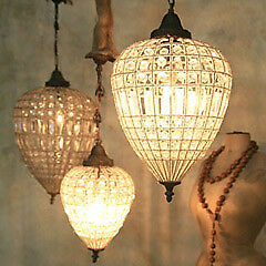 Antique reproduction large beaded teardrop chandelier