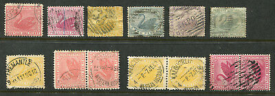 1854-1912 Western Australia.  Unchecked selection of 13 state stamps.