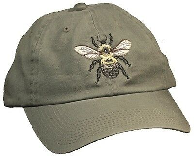 Bee Embroidered Cotton Cap NEW Honey Bumble Apiary
