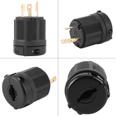 NEMA L5-30 30A 125V 3-pole Wire Twist Lock Electrical Plug Connector Copper GL