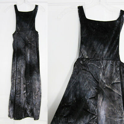 Vintage Girls Overalls 90's Black Gray Velvet Velour Size Large Romper Retro