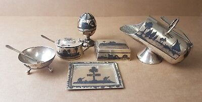 * group of Cairo type ware  or Niello small metal desk/table items