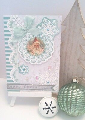 Handmade Christmas Card: Shabby Chic Santa (Mint)
