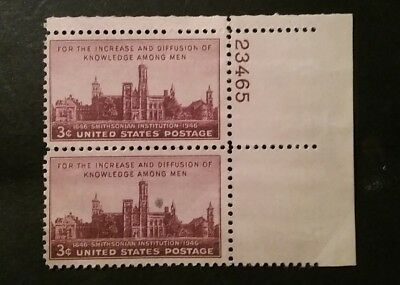 2 Rare US. 3c stamps with Tab. 100 years Smithsonion Instatued. used.