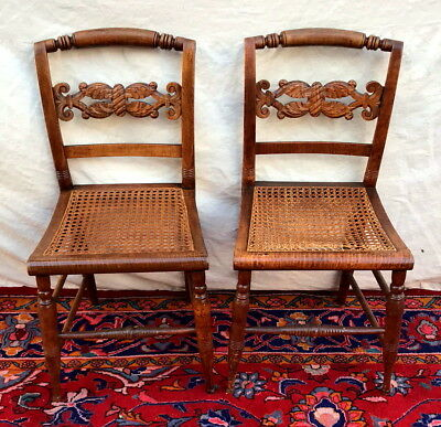 Rare Finely Acanthus Carved 18Th Century Pair Federal Tiger Maple Chairs