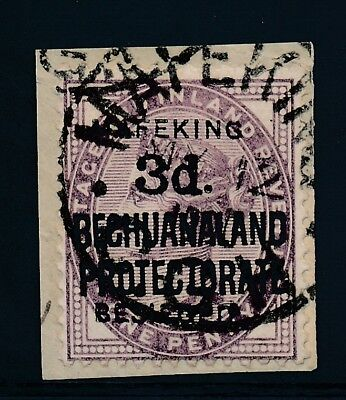 Mafeking. 1900. 3 d. on 1 d. lilac. Used on piece with certificate