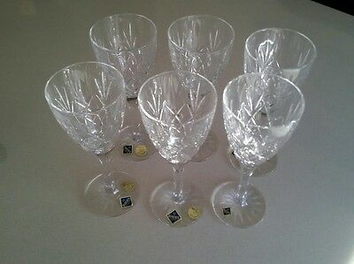 Bohemia crystal wine champagne tall glasses set of 6 - brand new without box