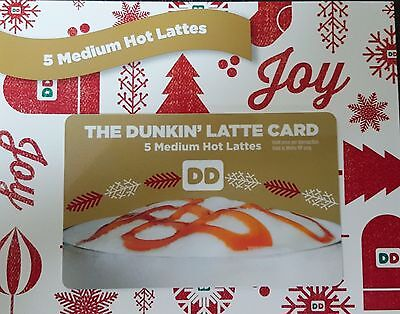 Dunkin Donuts 20 Medium Hot Latte Lattes Coffees Coffee Gift Card No TAX, expiry