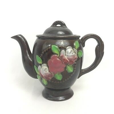Vintage Teapot Brown Japan Asian Pottery Floral Collectible Ceramic Oriental