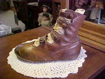 Child's Antique Brown Leather 4-Strap Single Left Shoe ONLY