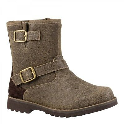 UGG  Harwell Bomber Boots Brown Kid Size 1 - NEW!