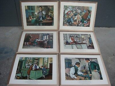 SIX 1950's A HISTORY of PHARMACY PICTURES Early American FOLK ART R. THOM