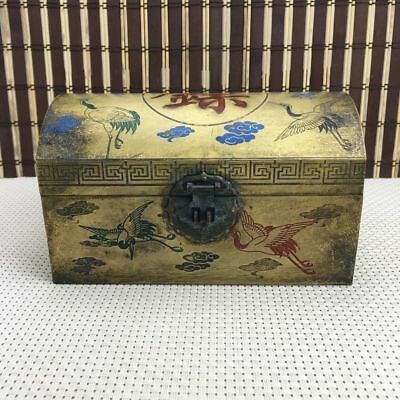 chinese old copper hand engraving crane Ancient COINS box Jewelry box