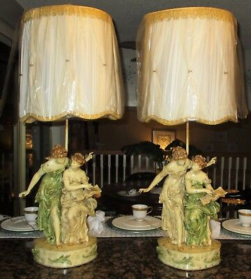 Antique Large Metal French Victorian Lady Statue Lamp Pair shade Music & Poetry!