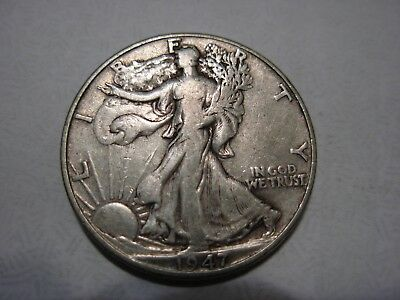 Very nice better date 1947 Walking Liberty half in F condition. #1
