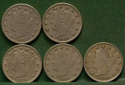 Lot of 5 Different Liberty V Nickels G-VF Details