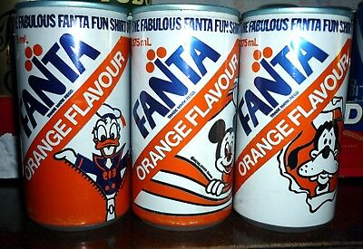 Collectable soft drink cans : Set of 3 Fanta '' Fabulous Fun Shirt''  375ml cans