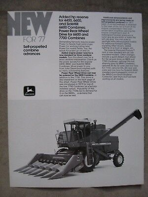 John Deere New For 1977 4400 6600 7700 Combine Brochure