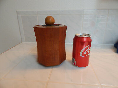 vtg Danish modern teak wood canister mid century hand made octagon container