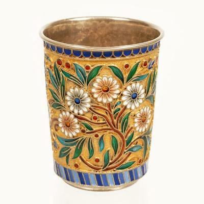 Antique Russian Ovchinnikov enamel beaker