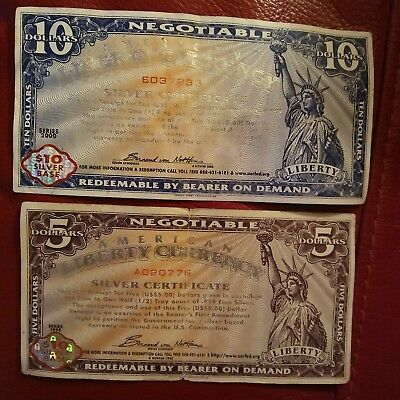 American Liberty Currency $5. & $10. Silver Certificates. Warehouse Receipt Term