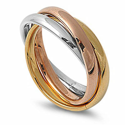 3mm Women Men Stainless Steel 316L Ring Tri color Tone Interlocked Rolling Band