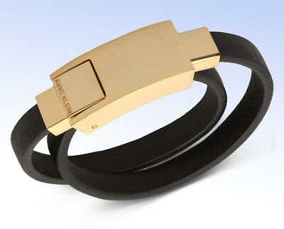 ANNE KLEIN Gold-Tone & Black Leather CHARGE & SYNC Lightning Cable Wrap Bracelet