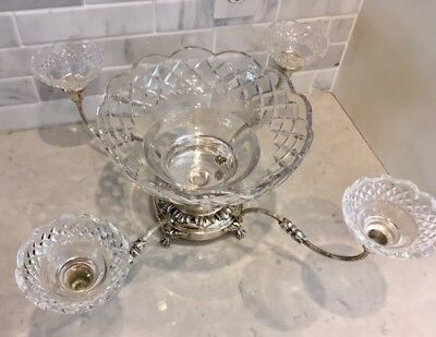Silverplate Epergne Centerpiece 5 glass bowls silver plate