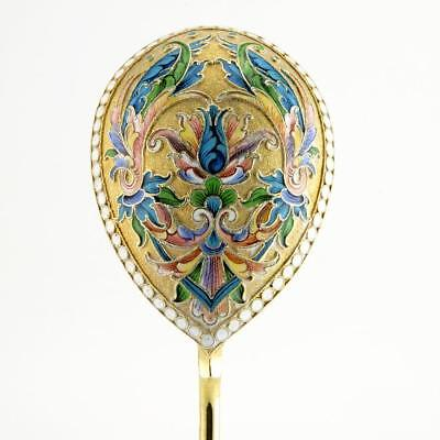 Antique Russian Agafonov shaded cloisonne serving spoon