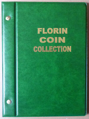 VST AUSTRALIAN 2/- COIN ALBUM FLORIN 1910 to 1963 with MINTAGES - GREEN Colour