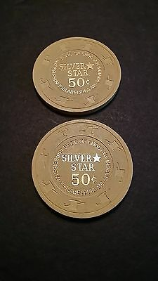 2 Two 50 Cent Wooden Casino Chips Silver Star Mississippi Tokens