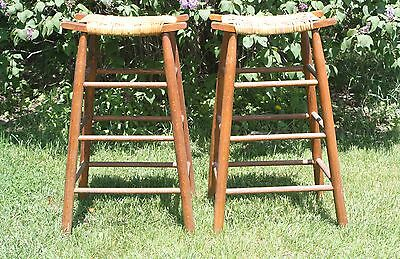 Pair of 2 Arts And Crafts/ Misson Style- Stool Caned Saddle Seat