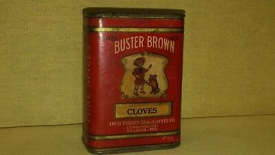 Vintage 2 Oz. Buster Brown Spice Tin (Cloves) Jas.h. Forbes Tea & Coffee Co.