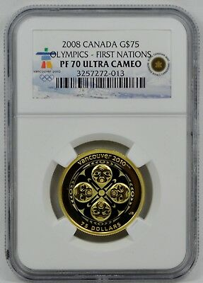 2008 $75 Canada Colorized Gold Coin First Nations 2010 Olympics - PF70 UC - RARE