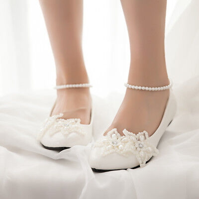 Mary Jane Women Pearls Flats Princess Wedding White Beach Party Bridal New Shoes