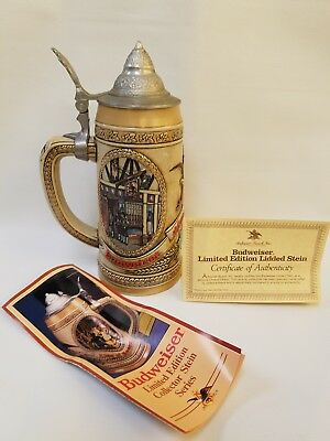 Budweiser Limited Edition Stein J Series 38625 Cert Of Authenticity Lid Top 1986