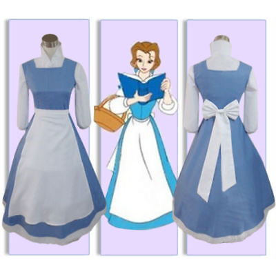 US! Adult Beauty and the Beast Belle Blue Maid Dress Cosplay Costume Halloween