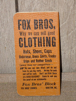 Antique Advert 1910's FOX BROS Hand-Tailored Clothing NOTEBOOK Houlton MAINE