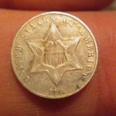 1861 Three Cents Silver Coin Nice Condition No Reserve