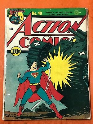 Rare 1941 DC ACTION COMICS #40 * Classic WWII Cover * 1st App STAR SPANGLED KID