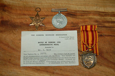 Original issue Dunkirk medal grouping with certificate to WEBB