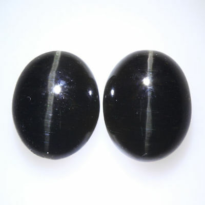 7.770 Ct VERY RARE FINE QUALITY 100% NATURAL SILLIMANITE CAT'S EYE INTENSE PAIR!