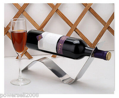 New European Simplicity Creative Stainless Steel Wave Shape Wine Rack Holder &$