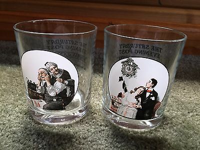 Set of 2 Norman Rockwell The Saturday Evening Post Glasses