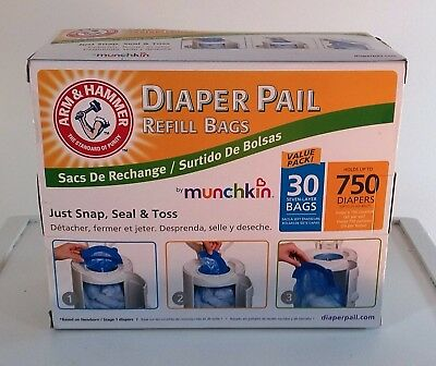 Munchkin Arm and Hammer Diaper Pail Snap Seal Toss Refill 30 Bags 750 Diapers
