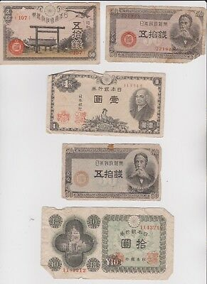 Small selection of Japanese notes